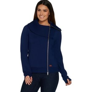 Asymmetric Zip-Front Scuba Knit Jacket